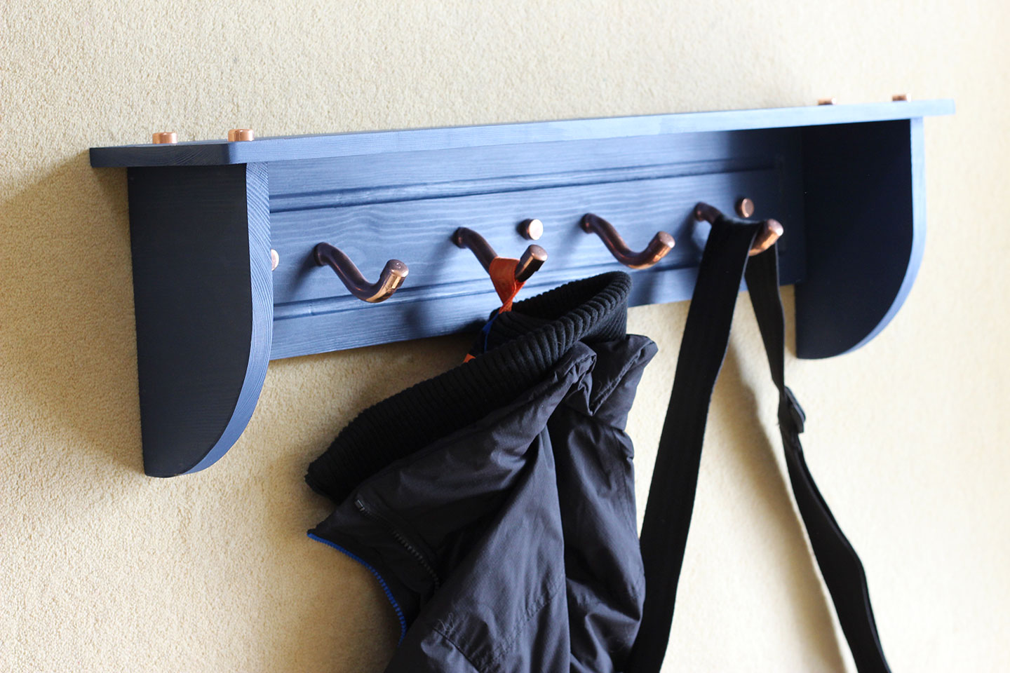 Coat Rack in Wood and Copper